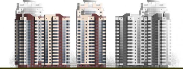 Многоэтажные дома клипарт