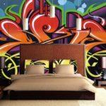 Уличное искусство — граффити рисунки на стене в современном интерьере вашего дома — фото
