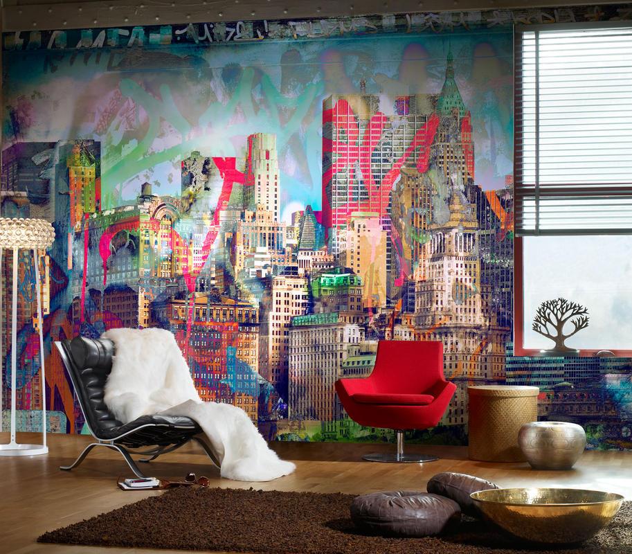 Уличное искусство - граффити рисунки на стене в современном интерьере вашего дома - фото