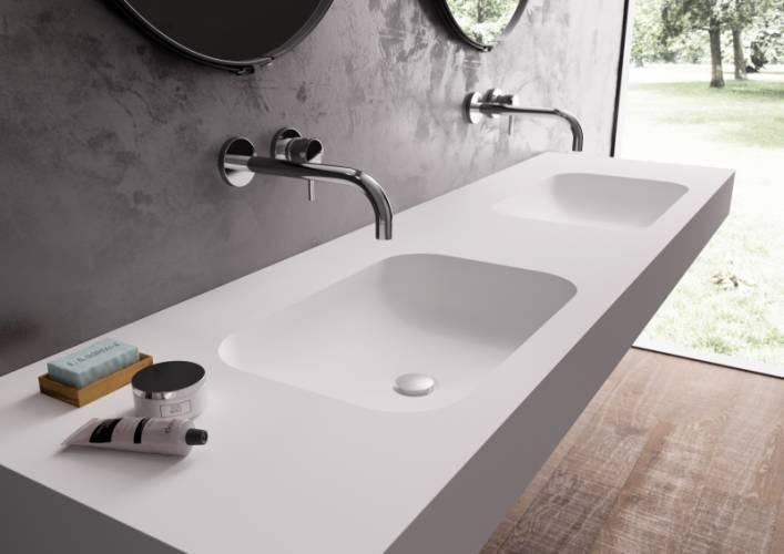 Столешница с раковиной для ванной – преимущества искусственного камня